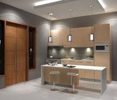 Image result for cocinas modernas en color natural con granito en negro o gris