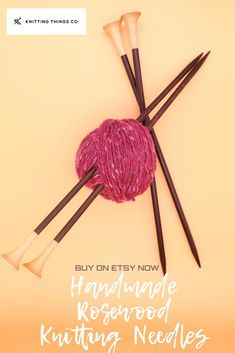 These lovely single-pointed wooden knitting needles are handmade and lovely to knit with. Made with gorgeous rosewood, they warm to your hand offering superior knitting experience. Available on Etsy in various sizes, 30cm long. Knitting Accessories, Hair Accessories, Wooden Knitting Needles, Knitting Projects, Bobby Pins, Warm, Trending Outfits, Unique Jewelry, Handmade Gifts