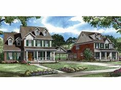 Amazing Country Duplex (HWBDO56244) | Country House Plan from BuilderHousePlans.com
