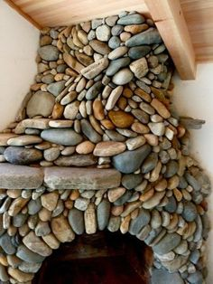 river rock fireplace!