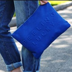 Zara Caution / Feeling Lucky Clutch Beautiful royal blue perfect for any season and a bloggers favorite... Sold out in stores! Zara Bags Clutches & Wristlets