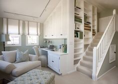 something about this i really love... so simple. having some workspace halfway up the stairs. brilliant