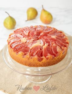 Stewed pears upside down cake - Kitchen ♥ Love Tarte Tartin, Pear Upside Down Cake, Tasty, Yummy Food, Spring Recipes, Piece Of Cakes, Sweet Desserts, Cake Cookies, No Bake Cake
