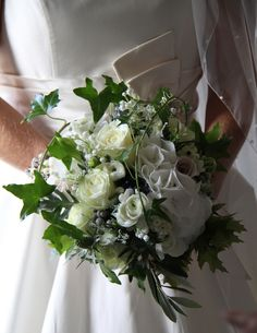 Flower Design Events: Beautiful White Wedding Bouquet perfect for an October Wedding
