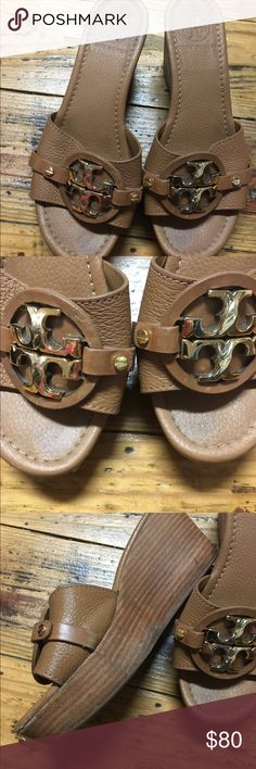 GUC/VGUC~ AUTHENTIC TORY BURCH SANDALS~ SIZE 6.5 GORGEOUS TORY BURCH CAMEL WEDGE SANDALS~ SIZE 6.5~ MINOR SCRATCHES ON BACK RIGHT HEEL.. Tory Burch Shoes Sandals