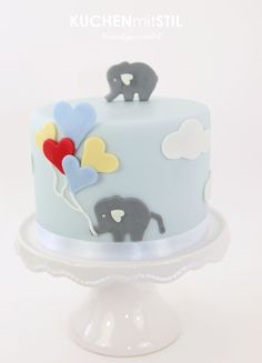 www.KUCHENmitSTIL.at - The finest Pastry -   cute little elephant baby boy birthday cake with heart baloons <3