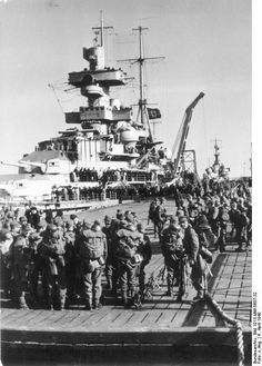 Heavy cruiser Admiral Hipper embarking German troops for the invasion of Norway, 6 Apr 1940! 8.15 New