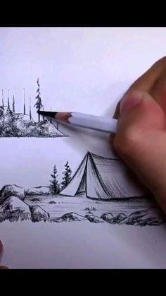 Malen Cool Pencil Drawings, Art Drawings For Kids, Art Drawings Sketches Simple, 3d Art Drawing, Art Drawings Beautiful, Diy Canvas Art, Art Tutorials, Watercolor Art, Sketching