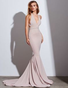 Dark Champagne Mermaid Prom Dress, V Neck Satin Formal Gown With Open Back · Prettyqueenprom · Online Store Powered by Storenvy Elegant Dresses, Pretty Dresses, Beautiful Dresses, Mermaid Prom Dresses, Bridesmaid Dresses, Gala Dresses, Formal Gowns, Dress Formal, Ball Gowns