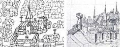 N-D du port: l'église vue du N (détail d'une vue de Clermont F.Fuzier, 1575) et l'église vue du S.E (détail d'un dessin d'Aimond -Gilbert Mallay, d'après l'Armorial de G. Ruel, XV°s).- 10) IMAGES-REVUES 2012: ... que 3 grands dignitaires -ROTBERTUS, abbas et ARMANDUS, decanus et JOHANNES, minister - aliènent pro bastimento psius Sanctae Maria Principales.