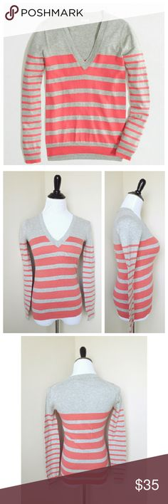 {j. crew} striped v neck sweater A feminine and girly striped v neck sweater from J. Crew factory  Double striped with Rib trim at neck, cuffs and hem  Cotton- machine washable  Flattering and comfortable!  Gently worn Size XXS  Retails $50 J. Crew Sweaters