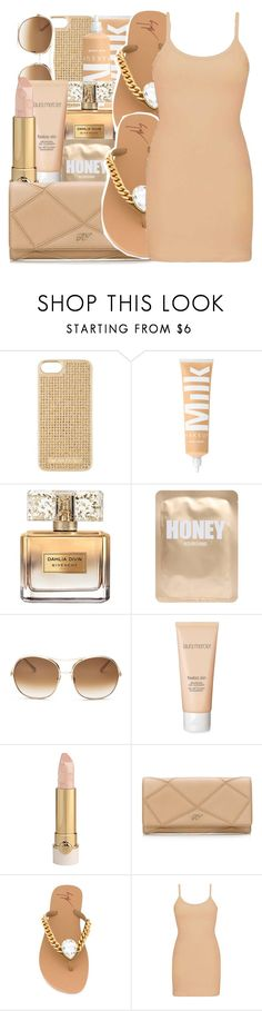 """pink-ish peach contest"" by savagebxtch24 ❤ liked on Polyvore featuring MICHAEL Michael Kors, Givenchy, Lapcos, Chloé, Laura Mercier, Roger Vivier, Giuseppe Zanotti and BKE"
