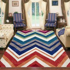 ABRASH CHEVRON FLOOR RUGS MULTI COLORED Chevron Floor, Chevron Rugs, Modern Rugs, Floor Rugs, Layout, Colours, Flooring, Room, Design