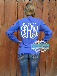 Preppy Long Sleeve Comfort Colors BACK Monogrammed T Shirt  - Y'all Fancy by YallFancyBoutique on Etsy