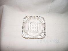 Elegant Vintage Clear Square Pressed Glass Ashtray