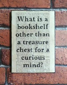 What is a bookshelf other than a treasure chest for a curious mind?