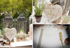 A Greek Flavored Wedding Party Presnall by De Plan V. Make a wish corner! Garden Yard Ideas, Wedding Decorations, Table Decorations, Mother Earth, Wedding Events, Rustic Wedding, Greek, Island, How To Plan