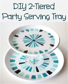 DIY 2-Tiered Party Serving Tray from TheFrugalGirls.com.  2 plates and a candlestick from a dollar store, some glue, add homemade cookies and/or candy and you have a great gift.