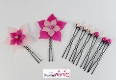 Lot de 8 pic à chignon fleur, perles fuchsia et rose - personnalisable : Accessoires coiffure par creation-ninie