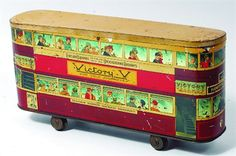London tramcar-style Victory V cough lozenge tin Antique Restoration and Sales