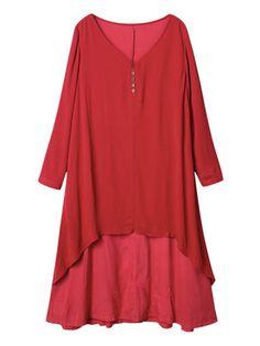 Vintage Kobiety stałe z długim rękawem Sukienka Patchwork Nieregularne Asymetria