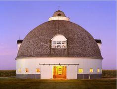 A dome barn in New England. Neat, that way the animals can't get cornered.