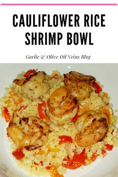 Plump shrimp in a delicious cauliflower rice bowl. Riced Califlower Recipes, Cauliflower Recipes, Cauliflower Rice, Keto Shrimp Recipes, Fish Recipes, Asian Recipes, Easy Healthy Recipes, Simple Recipes, Healthy Choices