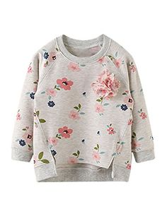 9e1cf4d5c XWDA Little Girls' Floral Print Long Sleeve Pullover Sweatshirts Vintage  Style Outfits, Vintage Fashion