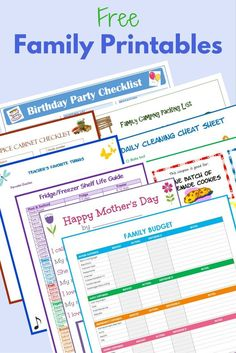 These free family printables will help you manage everything from birthday parties to camping trips