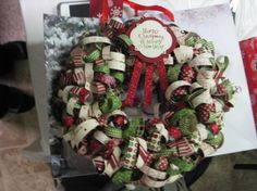 Curly Ribbon wreath for Christmas-----