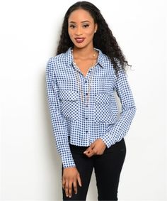 This woven gingham print top features long sleeves, pointed collar and button up closure. Fabric Content: 100% POLYESTER