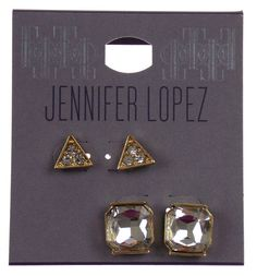2 Pair Jennifer Lopez Pierced Earrings Gold Post Faux Clear Crystals Triangle - FUNsational Finds