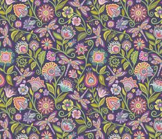 Wycinanki-Dragonfly in the Garden fabric by groovity on Spoonflower - custom fabric Custom Fabric, Paper Cutting, Spoonflower, Pattern Design, Sewing Patterns, Craft Projects, Quilts, Dark, Fabrics