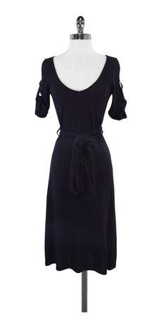 Theory Black Tie Waist Dress