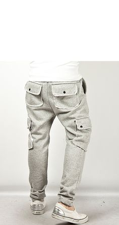 Double Button Cargo Pocket Accent Semi-Baggy Sweatpants - 39 - NSIE NewStylish