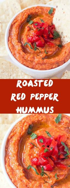 Roasted Red Pepper Hummus Dip - Prepared with roasted red peppers and pureed with chick peas and other spices! Perfect for picnics or other summer gatherings! Hummus without tahini and with - delicious either way! Perfect for a yummy hummus wrap!