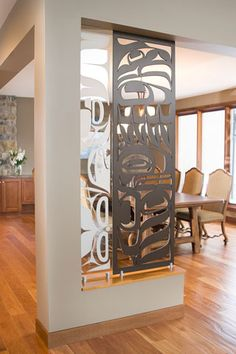 or panels inlayed like this in wine room Furniture Designer of the Year Finalist Sabina Hill collaborates with First Nations artists to create pieces that celebrate the beauty of the West Coast. Easy Home Decor, Home Decor Trends, Eclectic Decor, Modern Decor, Metal Room Divider, Room Dividers, Room Partition Designs, Wood Partition, Partition Ideas