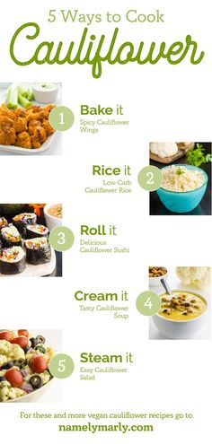If you're used to looking to cauliflower as a trusted side dish or a go-to low carb ingredient, it's time to expand your horizons with these Vegan Cauliflower Recipes! Not only will you love how easy it is to make cauliflower recipes vegan, but the variety of recipes, such as buffalo wings, cauliflower rice and more, will tickle your taste buds! #namelymarly #cauliflowerrecipes #cauliflower #cauliflowerrice #ricedcauliflower #cauliflowersalad #cauliflowerdinner Ways To Cook Cauliflower, Baked Cauliflower Wings, Tasty Cauliflower, Vegan Sandwich Recipes, Best Vegan Recipes, Vegan Dessert Recipes, Vegan Breakfast Recipes, Pasta With Walnuts, Vegan Yogurt