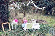 LOVE! Whimsical tea party + greenery