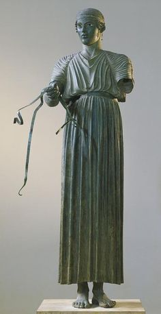 Charioteer of Delphi 470 BC. The Charioteer of Delphi is one of the best known ancient Greek statues, and one of the best preserved examples of classical bronze casts. It is considered a fine example of the Severe style. Delphi Archaeological Museum.