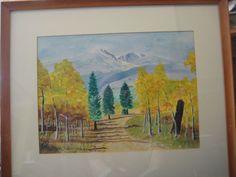 1963 Vintage Original Watercolor Mt. Ypsilon, Rocky Mt. Co. By E. Comstock