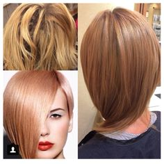 Lifted to pale yellow, then toned with Matrix Sync Formula : 2 oz Clear+ 1oz 9CG+ 1/4 oz 5RV How-To: Rose Gold with Underlying Hints of Pink | Modern Salon