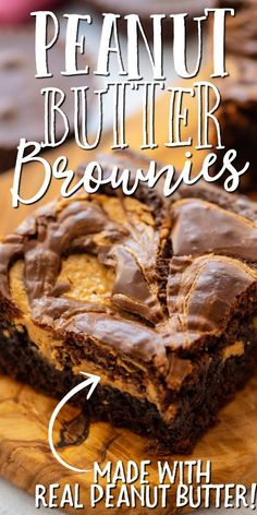 You won't want to return to boxed mixes after seeing how easy this homemade version is. Our peanut butter brownies are baked with cocoa powder, sugar, mini peanut butter cups, and vanilla. Then peanut butter is swirled into the batter right in the pan before baking. Cookie Desserts, Just Desserts, Delicious Desserts, Dessert Recipes, Bar Recipes, Cream Recipes, Yummy Recipes, Healthy Recipes, Homemade Peanut Butter