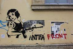 Nicosia, Cyprus. Antifa is short for anti-fascist.