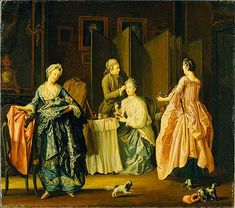 """The Morning Toilet. Boudoir Scene"", ca. 1770, by Pehr Hilleström (Swedish, 1732-1816). Swedish National Museum."