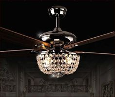 For the eating area 52inch led chandelier fan light modern new crystal chandelier ceiling fan combo more aloadofball Choice Image