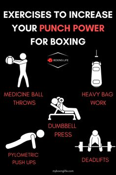 Punch power exercises 👊💥   Improving you punch power is something all boxers work on in their training and is definitely a crucial telement of a boxers ability to make your opponent cautious, put them on them back foot or even to get the knockout victory.  #boxing #boxinglife #punchpower #boxingequipment #boxinggloves #mma #boxingworkout #boxingtraining #gym #fitness #gymequipment #powerful #doubleendbag #shadowboxing #heavybag #pushups #deadlifts #dumbbell #gymmotivation #workoutideas Boxing Training, Boxing Workout, Medicine Ball, Boxing Gloves, Gym Fitness, Boxers, Shadow Box, Gym Motivation, Mma