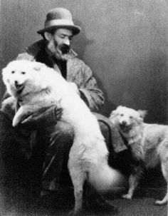 Constantin Brancusi, world famous Romanian sculptor, and his dogs. Photo by Man Ray Man Ray, Lee Miller, Constantin Brancusi, Gato Animal, Bon Iver, Vintage Dog, Famous Photographers, Famous Artists, American Artists