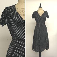 Biasa Wrap - Tea Length Dress - Black Polka Dot - French Rayon Crepe