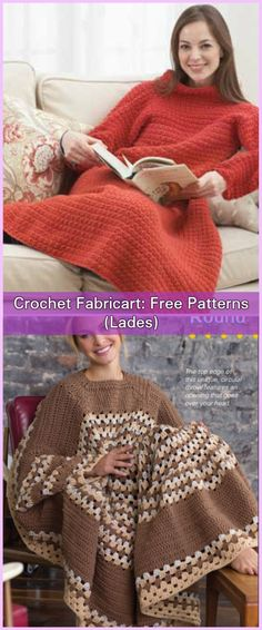 Crochet Women Snuggle Up Blankets With Sleeves Free Patterns